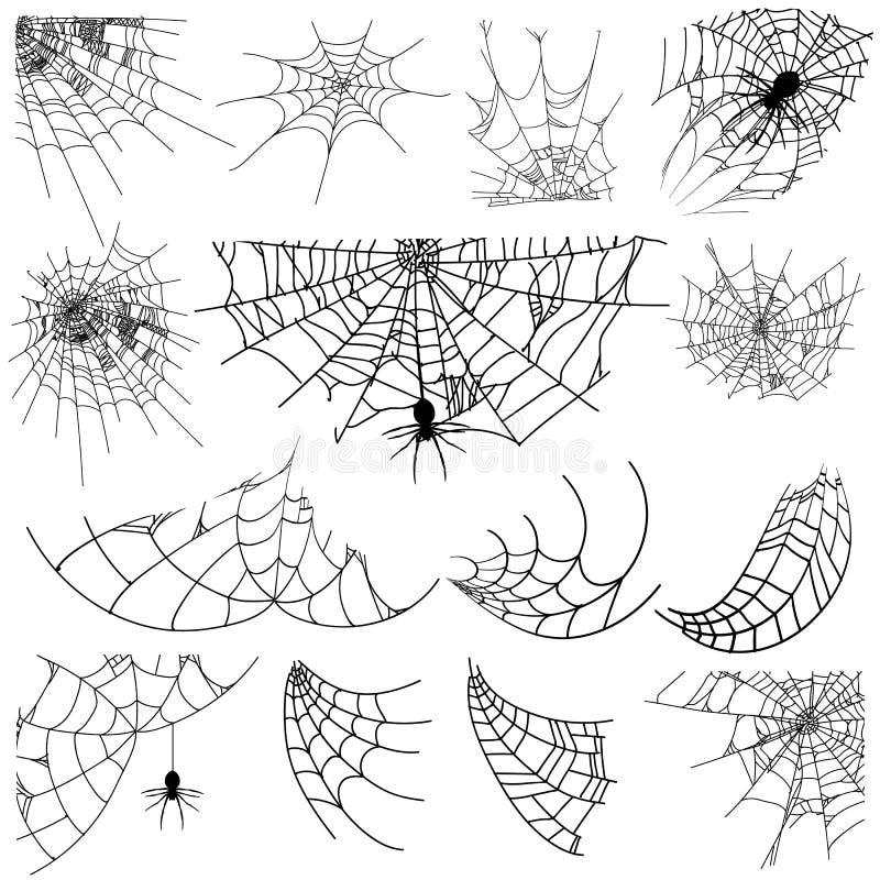 Wektorowa ilustracyjna Halloweenowa pająk sieć odizolowywająca na białym tle Hector jadu pajęczyny set Halloweenowa monochromatyc royalty ilustracja