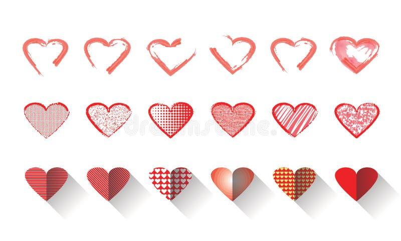 Wektorowa ilustracyjna ikona ustawiająca czerwoni serca kształtuje dla walentynka dnia ilustracji