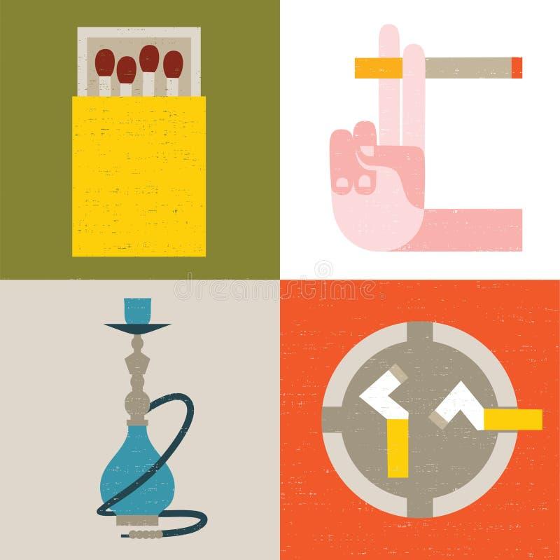 Wektorowa ilustracyjna ikona ustawiająca dymienie ilustracja wektor