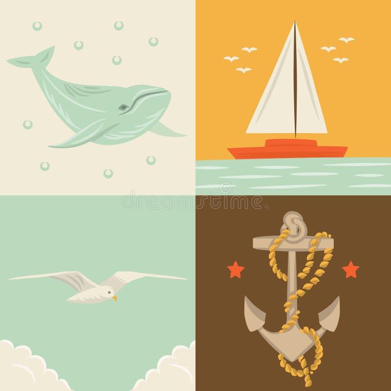 Wektorowa ilustracyjna ikona ustawiająca morze: wieloryb, statek, seagull, kotwica royalty ilustracja