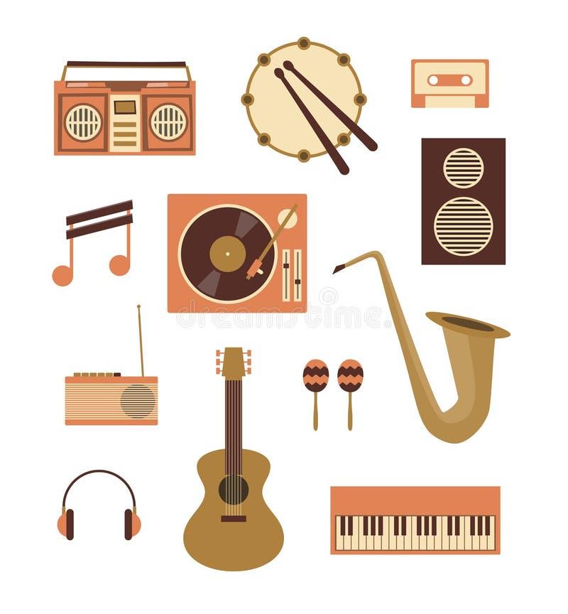 Wektorowa ilustracyjna ikona ustawiająca muzyka: pisak, bęben, audio kaseta, notatka, turntable, głośnik, radio, gitara, marakasy ilustracji
