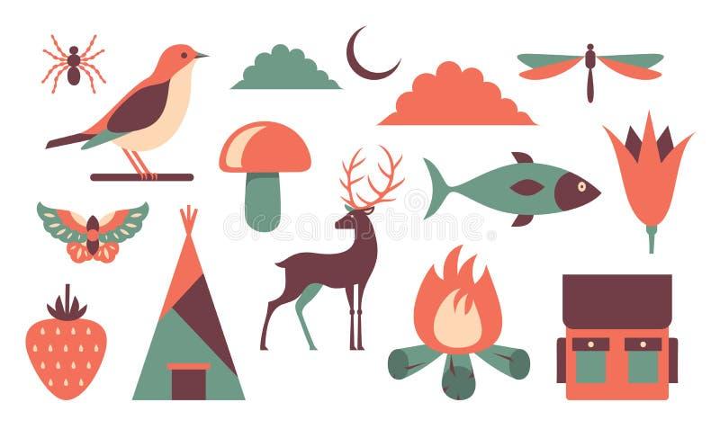 Wektorowa ilustracyjna ikona ustawiająca natura: pająk, ptak, niebo, dragonfly, motyl, pieczarka, ryba, kwiat, jagoda, dom, rogac royalty ilustracja