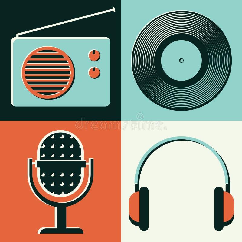 Wektorowa ilustracyjna ikona ustawiająca radio, winyl, mikrofon, hełmofony ilustracji