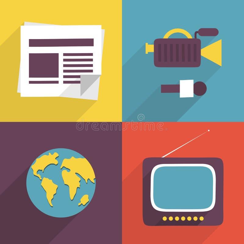 Wektorowa ilustracyjna ikona ustawiająca wiadomość: gazeta, kamera i mikrofon, świat, telewizja ilustracji