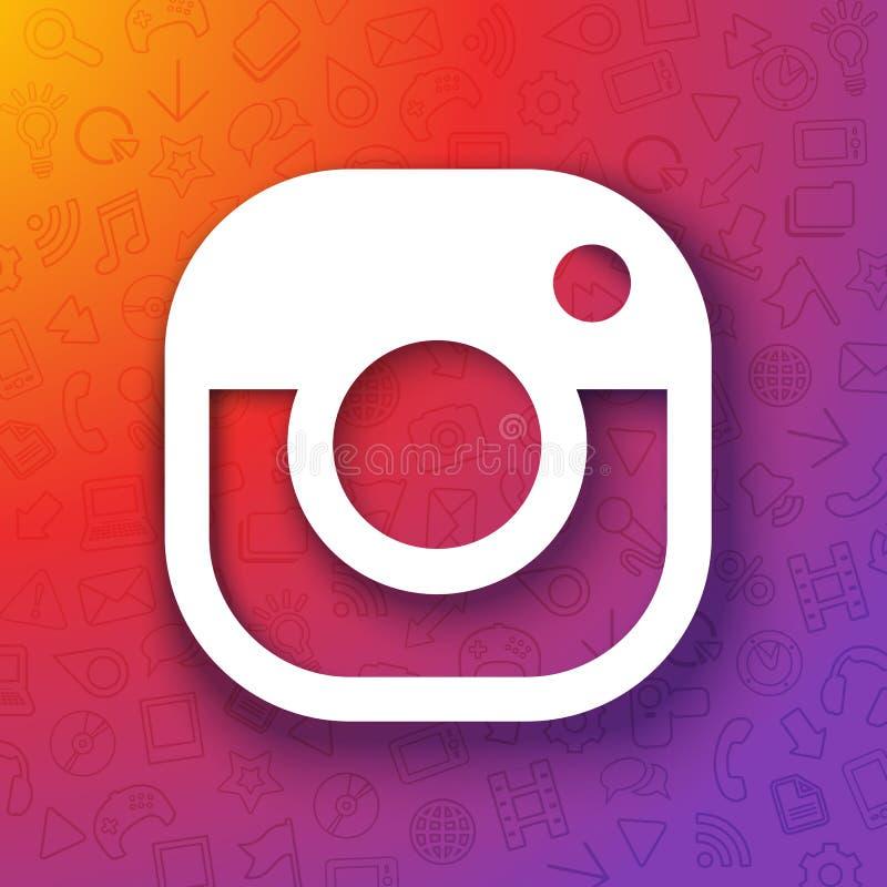Wektorowa ilustracyjna instagram kamera, ogólnospołeczni środki lub sieć z koloru gradientu tłem, royalty ilustracja