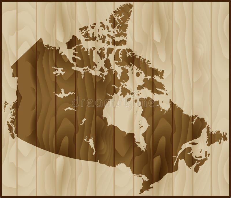 Wektorowa ilustracyjna Kanada mapa na drewnianym tle obrazy stock