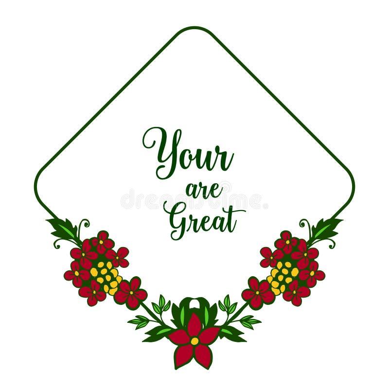 Wektorowa ilustracyjna kartka z pozdrowieniami twój jest wielka z teksturą ramowa kwiat czerwień, kolor żółty i royalty ilustracja