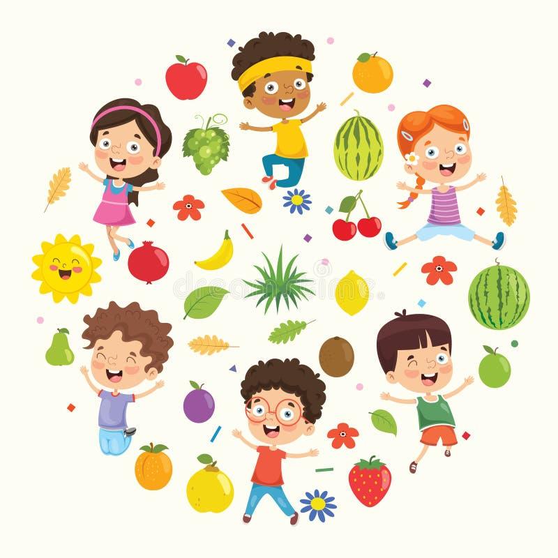 Wektorowa Ilustracyjna kolekcja dzieciaki i owoc ilustracja wektor