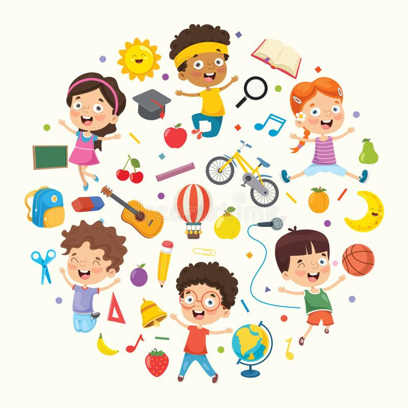Wektorowa Ilustracyjna kolekcja dzieciaki i przedmioty ilustracja wektor