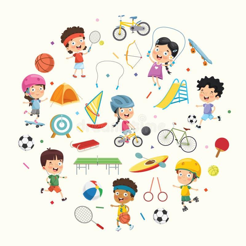 Wektorowa Ilustracyjna kolekcja dzieciaki i sportów Equipments royalty ilustracja