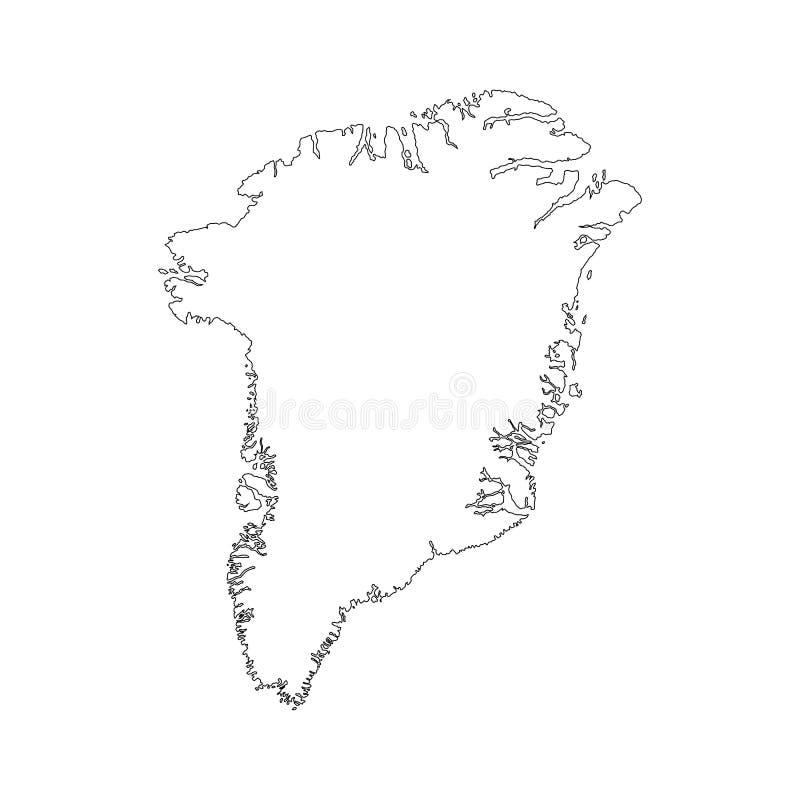 Wektorowa Ilustracyjna mapa Greenland Dani w białym tle dla kontynuuje, mapa Odizolowywająca Na bielu Greenland Dani royalty ilustracja