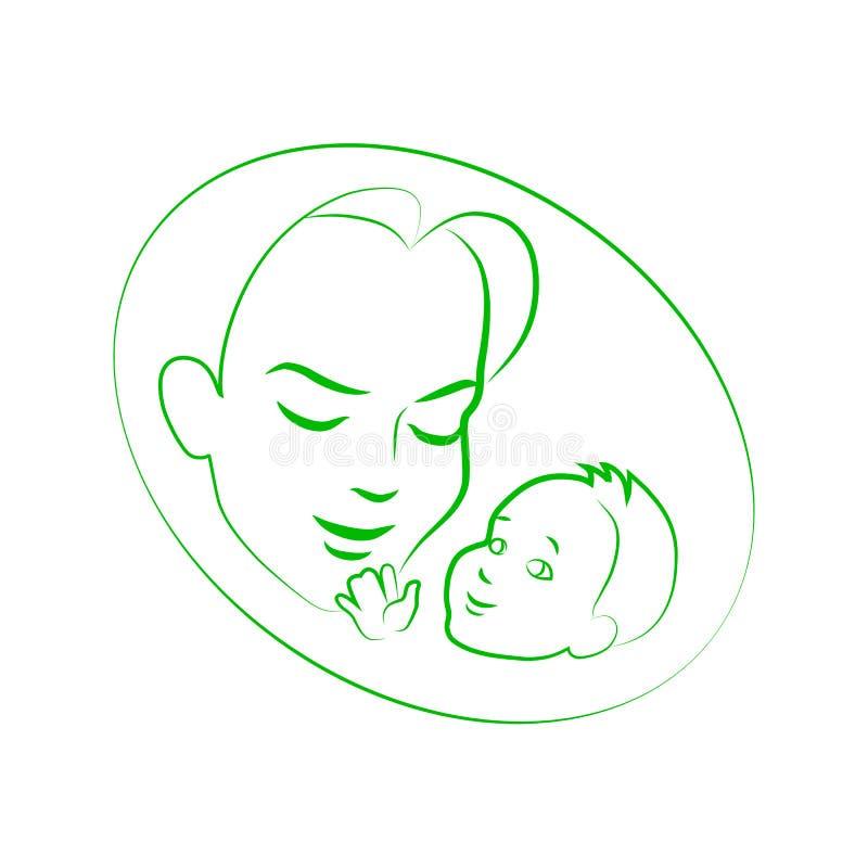 Wektorowa ilustracyjna nakreślenie matka z małym dzieckiem ilustracji