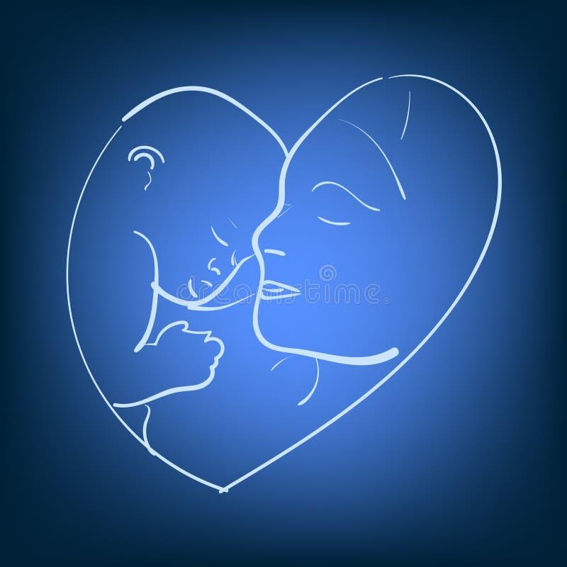 Wektorowa ilustracyjna nakreślenie matka z małym dzieckiem Logo mama i nowonarodzony dziecko na odosobnionym tle Doodle pociągany ilustracja wektor