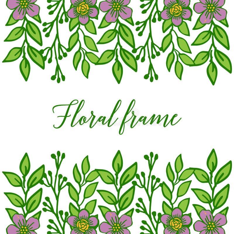 Wektorowa ilustracyjna piękna purpurowa kwiecista rama z zielenią opuszcza na białym tle royalty ilustracja