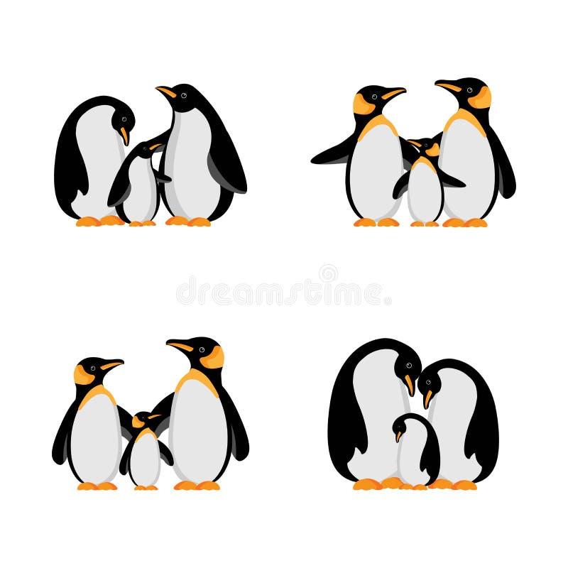 Wektorowa ilustracyjna pingwin rodzina ilustracji