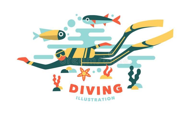 Wektorowa ilustracyjna podwodnego nurka otaczająca ryba ilustracji