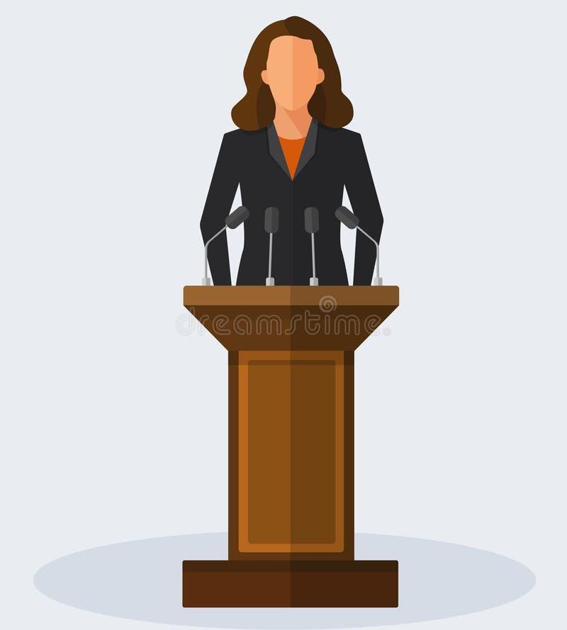 Wektorowa Ilustracyjna polityk kobieta Daje mowie royalty ilustracja