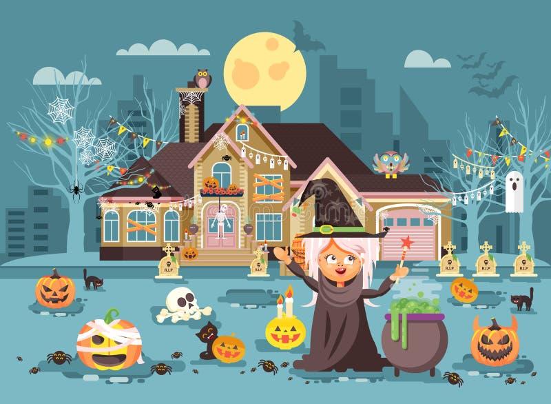 Wektorowa ilustracyjna postać z kreskówki dziecka funda, dziewczyna kostiumy, galanteryjnych sukni czarownica czaruje kocioł ilustracja wektor