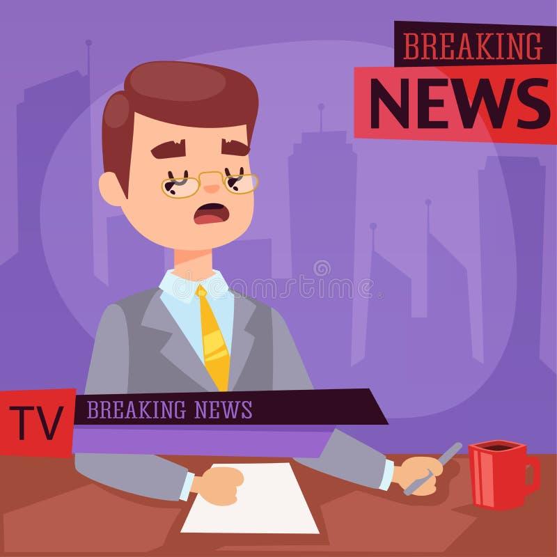 Wektorowa Ilustracyjna prezenter telewizyjny wiadomość dnia i tv parawanowego układu pofessional wywiadu ludzie w TV studia newsr ilustracji