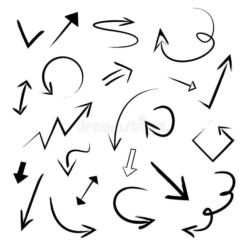 Wektorowa Ilustracyjna ręka Rysować strzały Ustawiać Kolekcja Grunge nakreślenia Doodle strzały Handmade sztuka royalty ilustracja
