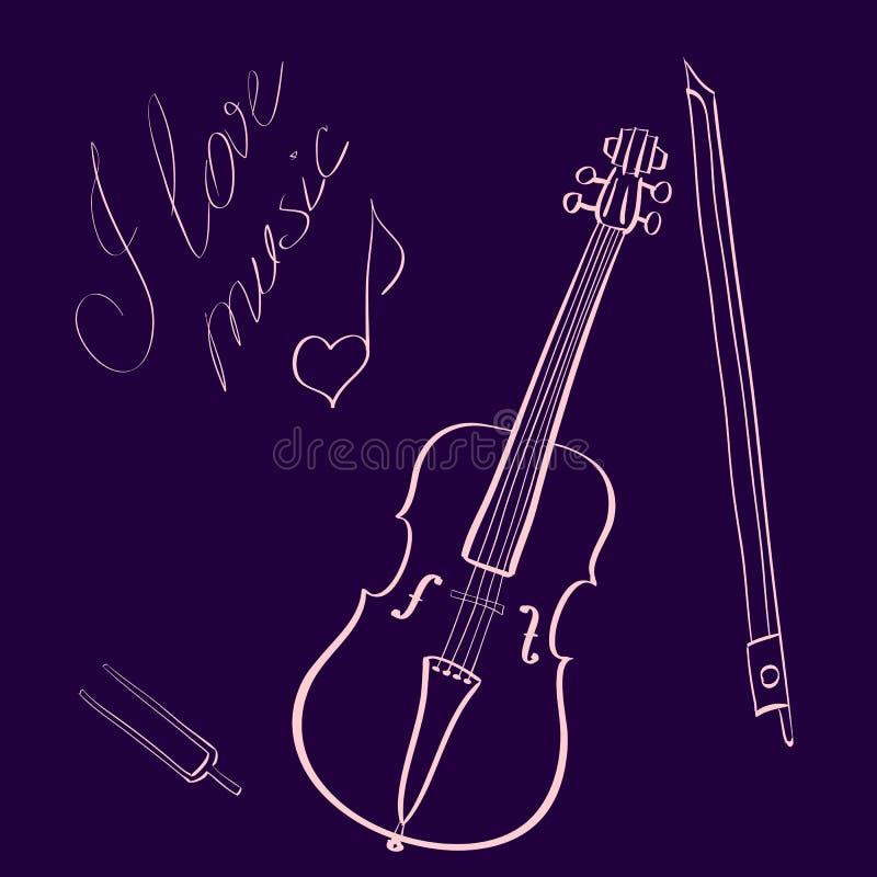 Wektorowa ilustracyjna ręka rysujący skrzypce z, ręcznie pisany tytuł i kocham muzykę z muzyki notatką ilustracji