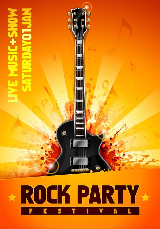 Wektorowa ilustracyjna rockowego koncerta przyjęcia ulotka lub plakatowy projekta szablon z gitarą ilustracja wektor