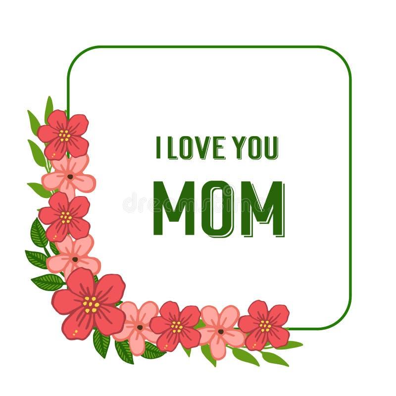 Wektorowa ilustracyjna szablon karta kocham ciebie mama dla grafika wianku pomarańczowej ramy royalty ilustracja