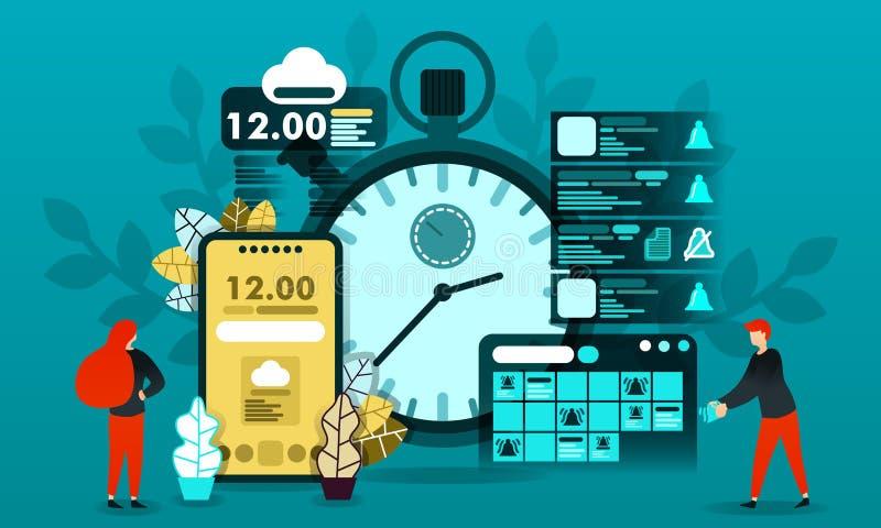 Wektorowa ilustracyjna technologia i czas dla sieci oszczędzanie czas, planuje rozkład, powiadomienie, kalendarz, ostrzeżenie, st ilustracja wektor