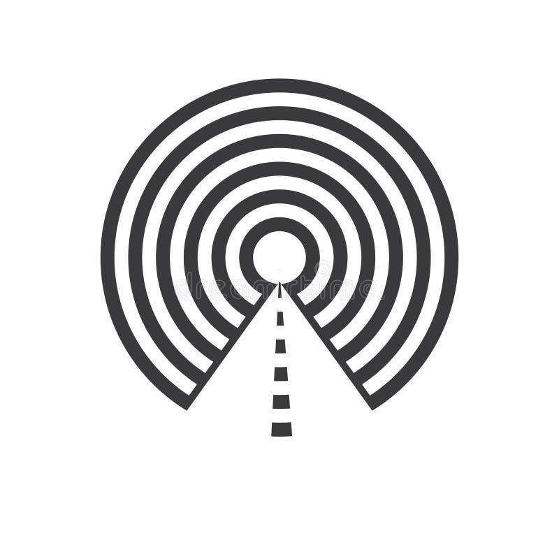 Wektorowa ilustracyjna tunel linia z okręgu mieszkania ikoną ilustracja wektor