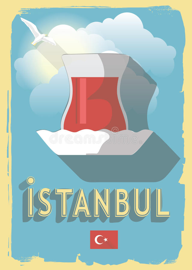 Wektorowa ilustracyjna turecka herbata royalty ilustracja