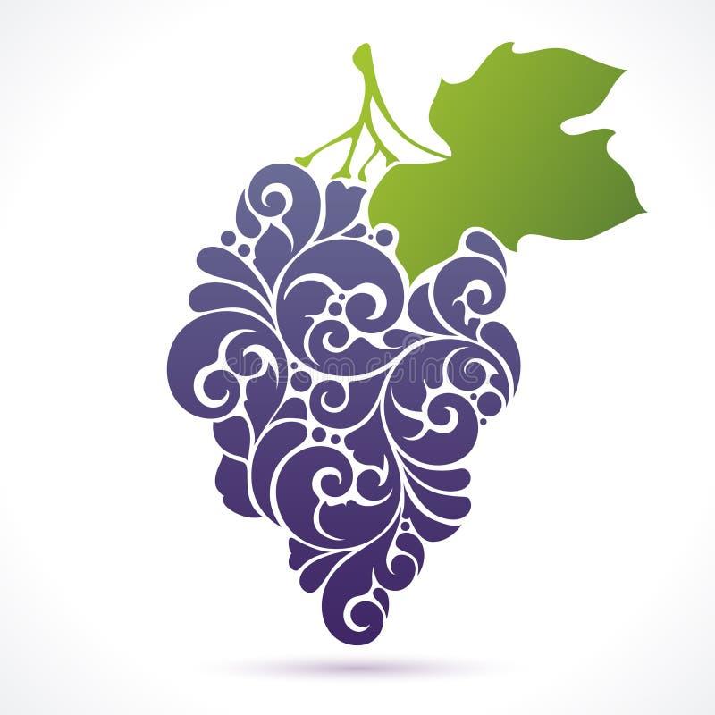 Wektorowa ilustracyjna wiązka win winogrona ilustracja wektor