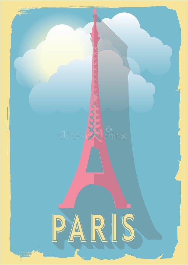 Wektorowa ilustracyjna wieża eifla Paris France na retro stylowym plakacie lub pocztówce royalty ilustracja