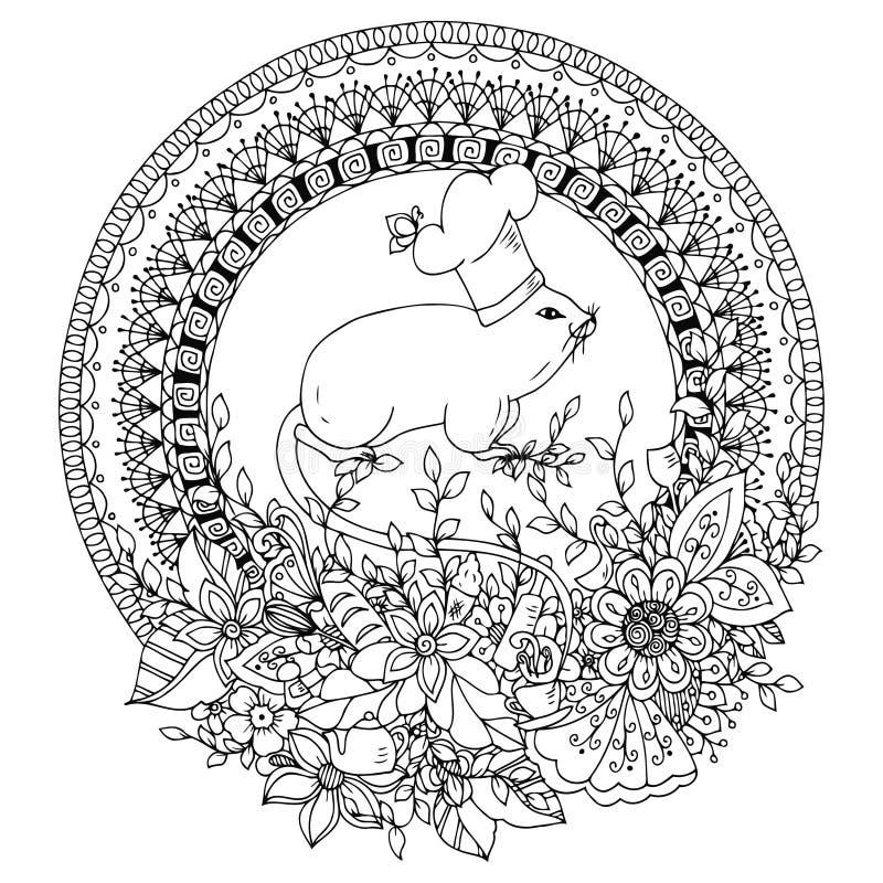 Wektorowa ilustracyjna Zen gmatwanina, mysz kucharz w round kwiecistej ramie ilustracja wektor