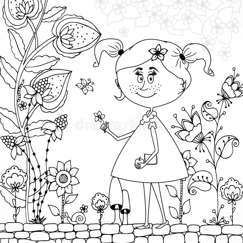 Wektorowa ilustracyjna Zen gmatwaniny dziewczyna w kwiecistym Doodle kwitnie, drzewo ilustracji
