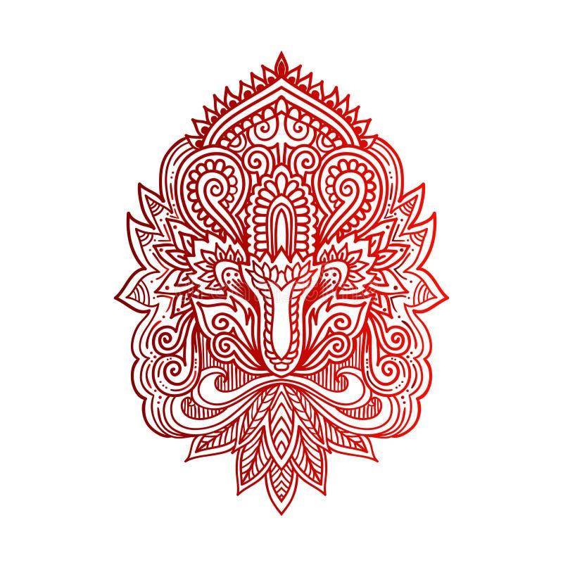 Wektorowa Indiańska ręka rysujący hamsa z etnicznymi ornamentami Piękny India ethnica ornament Ludowy henna tatuażu styl ilustracji