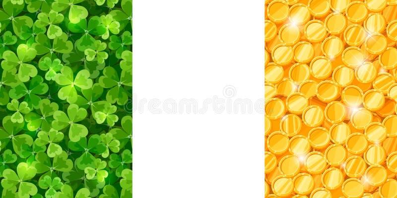 Wektorowa irlandczyk flaga robić shamrock i monety royalty ilustracja