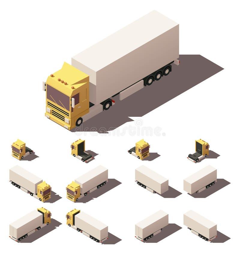 Wektorowa isometric ciężarówka z pudełkowatym naczepa ikony setem ilustracja wektor