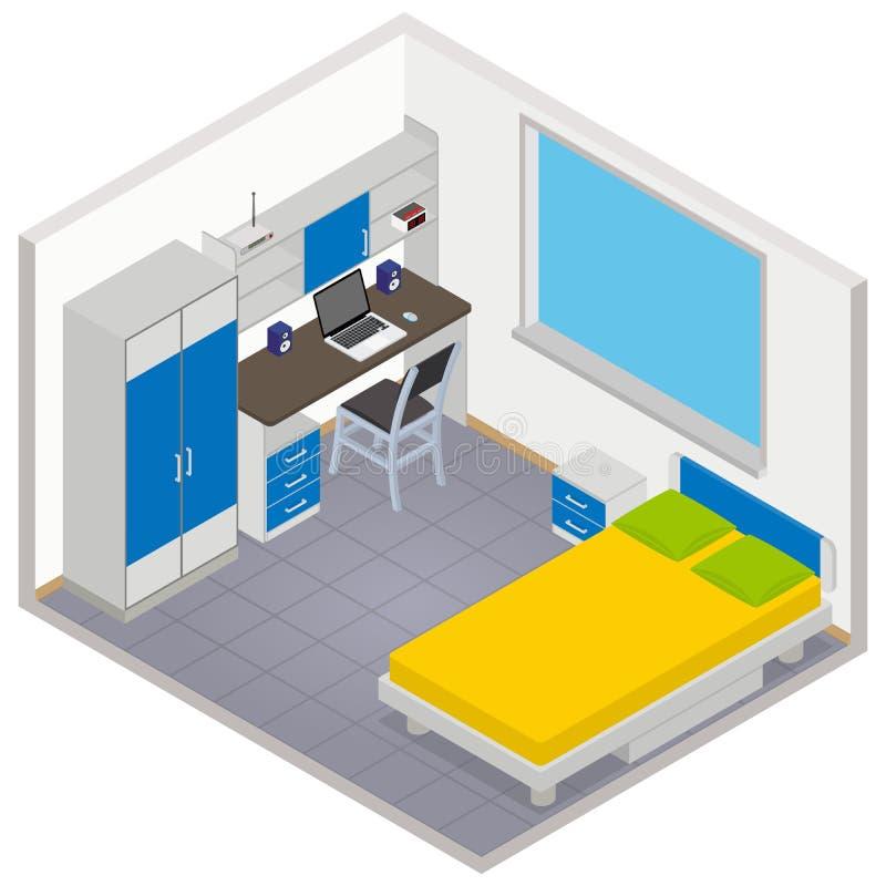 Wektorowa isometric dziecko pokoju ikona ilustracji