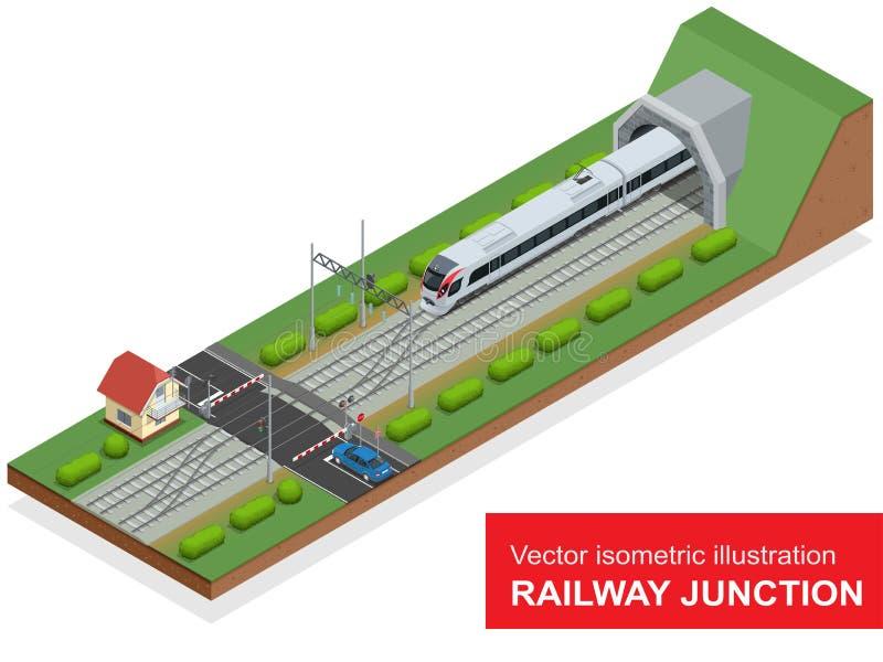 Wektorowa isometric ilustracja kolejowy złącze Kolejowy złącze składał się nowożytnego wysokiego prędkość pociąg, kolejowy tunel ilustracji
