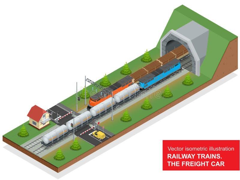 Wektorowa isometric ilustracja kolejowy złącze Kolejowy złącze składał się poręcz zakrywającego furgon, Dieslowska lokomotywa ilustracja wektor