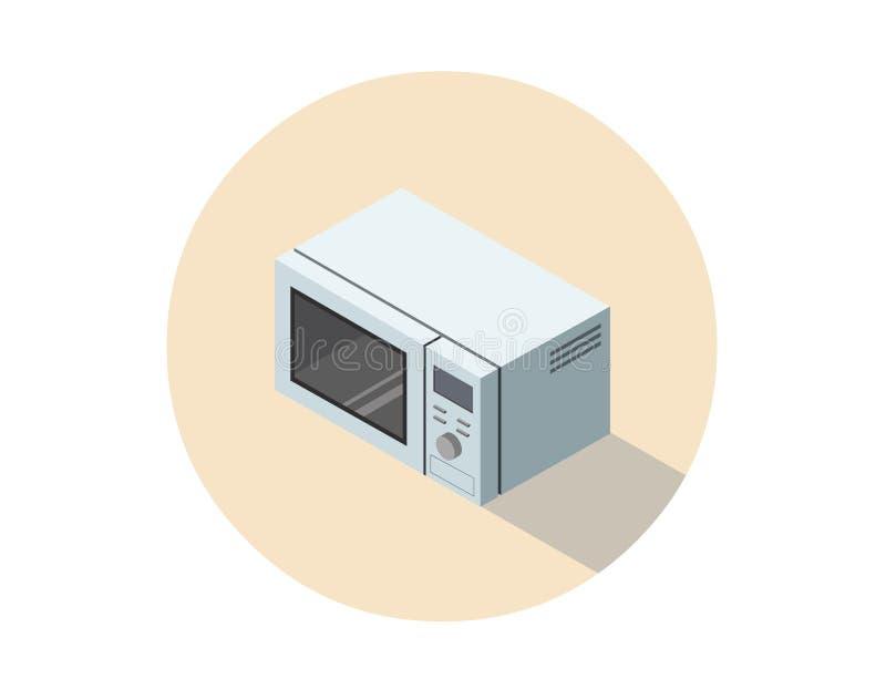 Wektorowa isometric ilustracja mikrofala piekarnik, 3d płaski kuchenny wyposażenie ilustracji