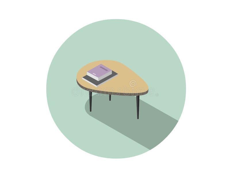 Wektorowa isometric ilustracja nowożytny stolik do kawy z książką i magazynem royalty ilustracja