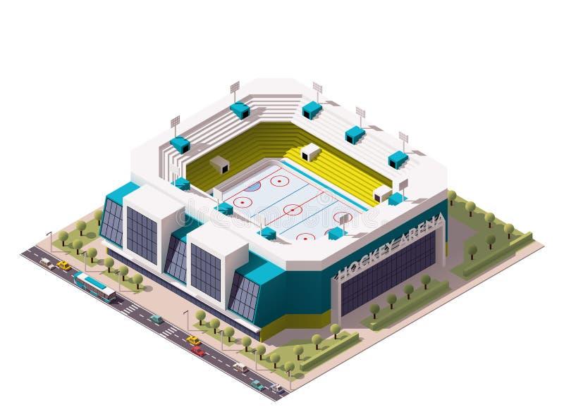 Wektorowa isometric lodowego hokeja arena royalty ilustracja