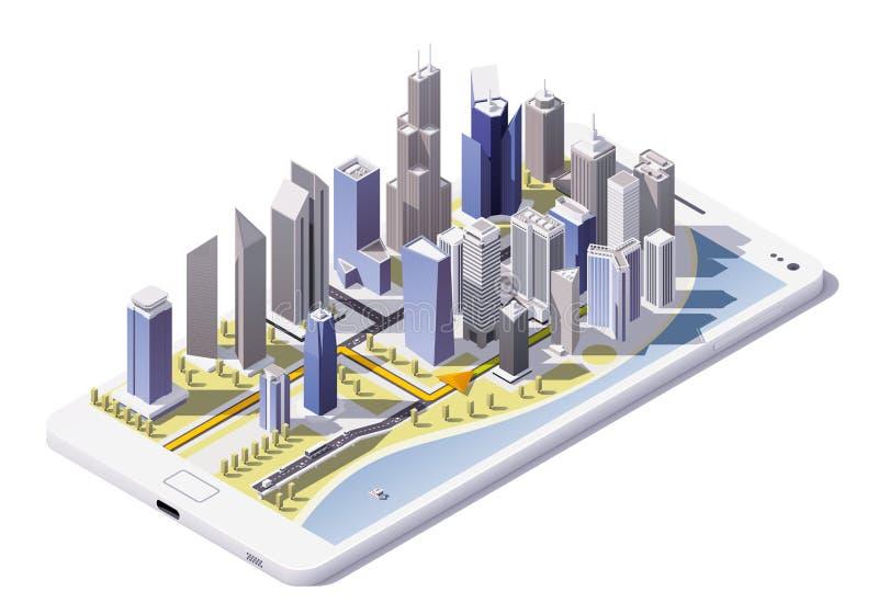 Wektorowa isometric miasto nawigaci ikona ilustracja wektor