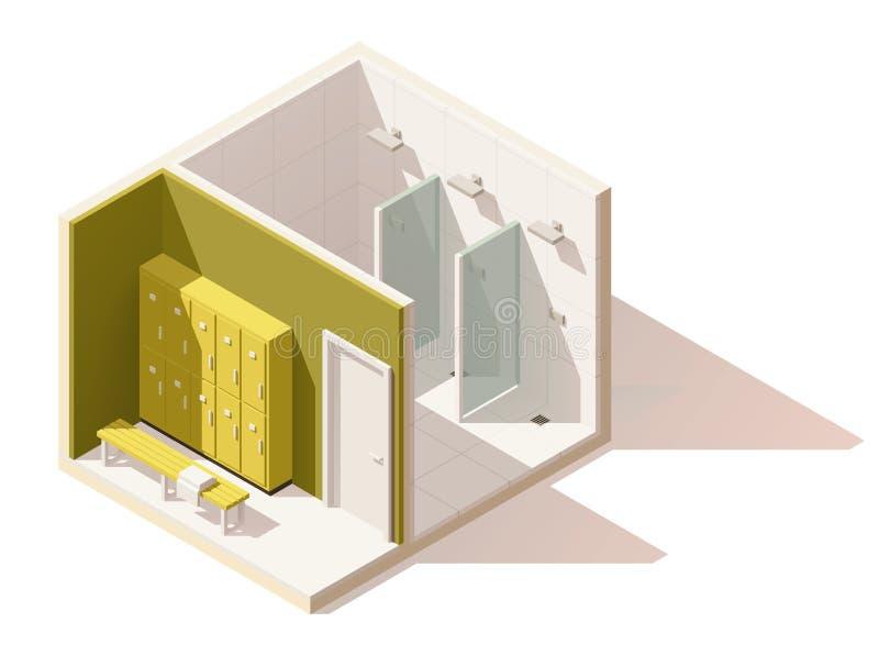 Wektorowa isometric niska poli- gym szatni ikona ilustracja wektor