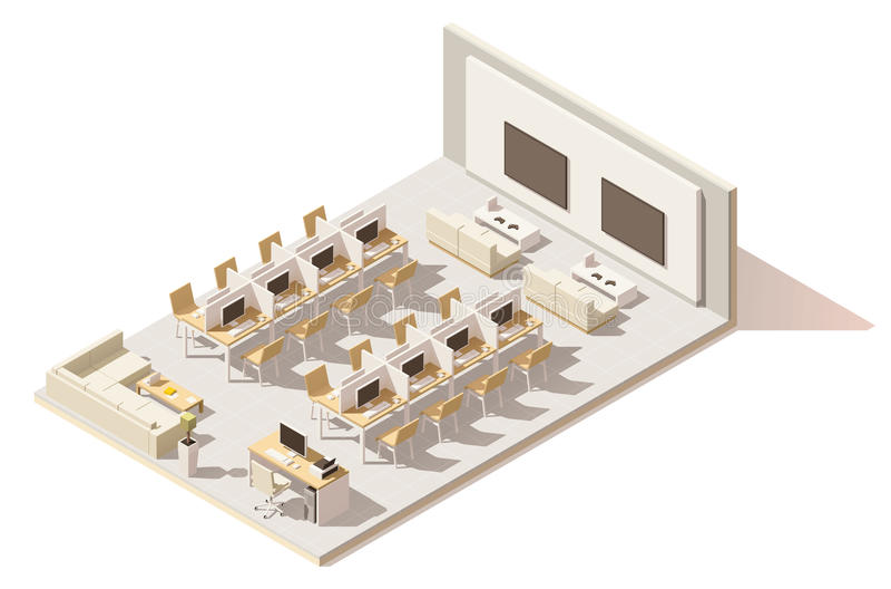 Wektorowa isometric niska poli- internet kawiarnia ilustracji