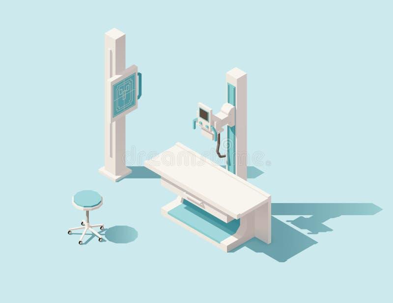 Wektorowa isometric niska poli- promieniowanie rentgenowskie maszyna ilustracja wektor