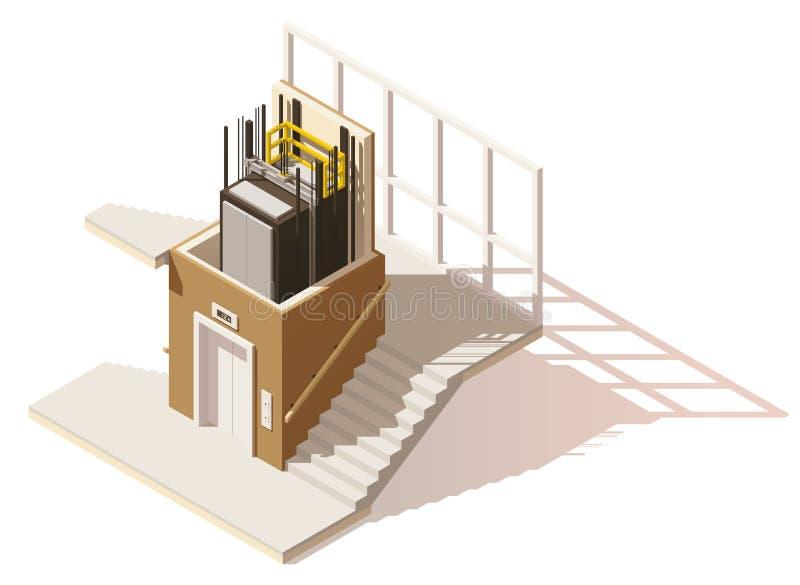 Wektorowa isometric niska poli- windy cutaway ikona royalty ilustracja