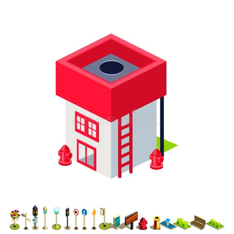 Wektorowa isometric posterunku straży pożarnej budynku ikona ilustracja wektor