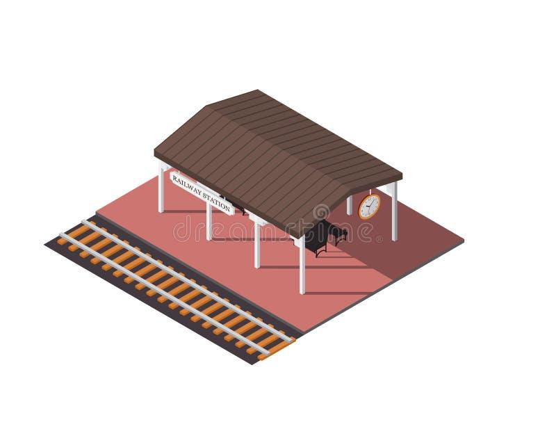 Wektorowa isometric stacja kolejowa ilustracji